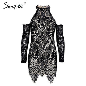 Simplee Halter cold shoulder black lace dress Women sexy slim bodycon dress vestidos Elegant fringed christmas party mini dress