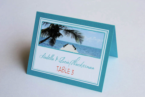 Destination Beach Wedding Stationery - Table Place Cards - Belize Beach