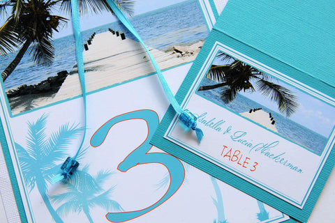 Destination Beach Wedding Stationery - Table Numbers - Belize Beach Pier