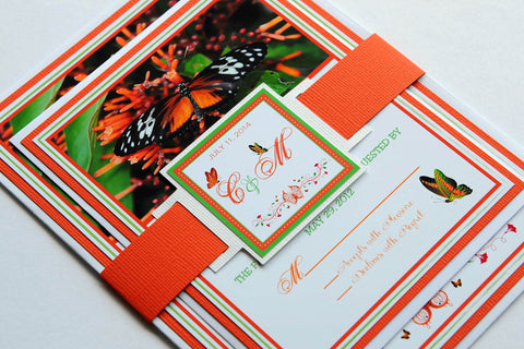 Belize Butterfly Wedding Invitation and RSVP Suite
