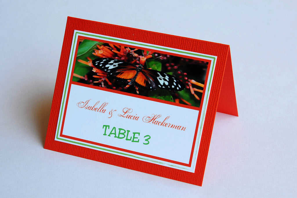 Wedding Stationery - Table Place Cards - Belize Butterfly