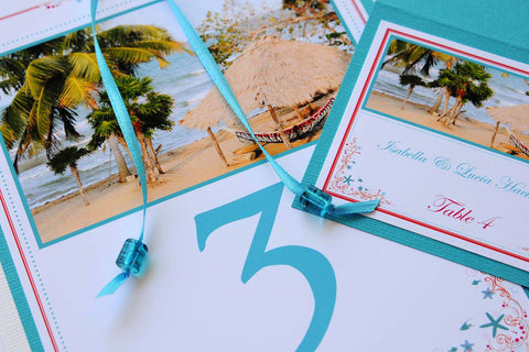 Destination Beach Wedding Stationery - Table Numbers - Belize Hopkins Beach