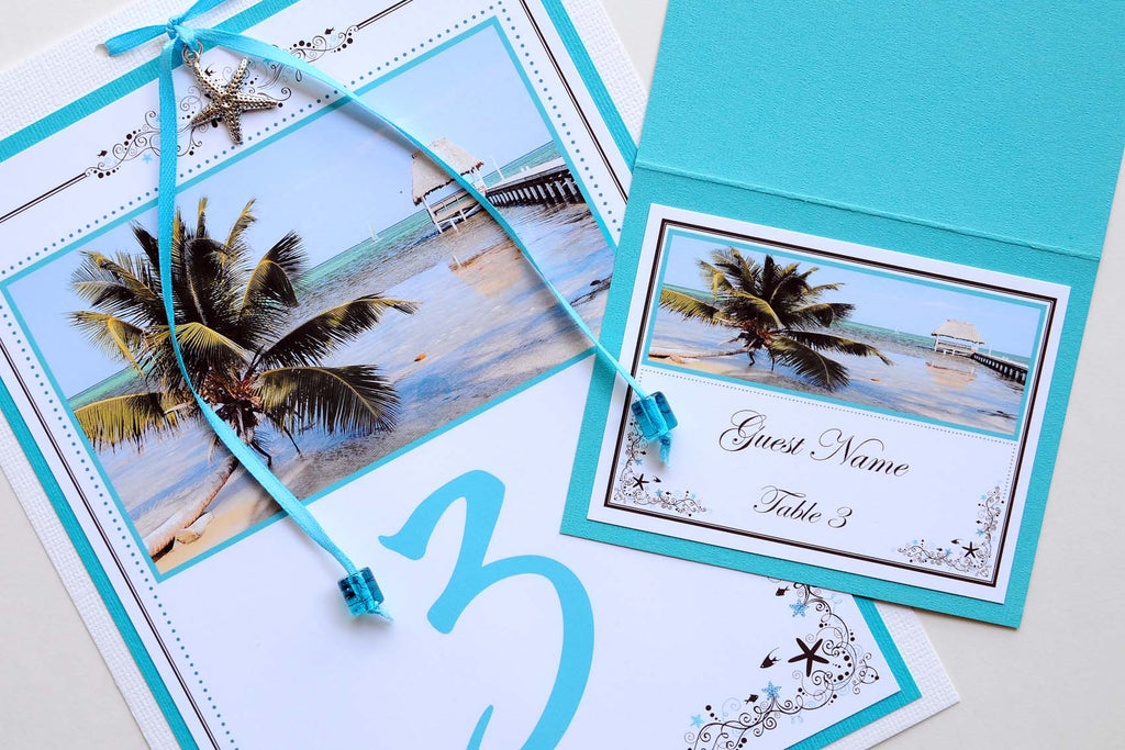 Wedding Stationery - Table Numbers - Belize Beach