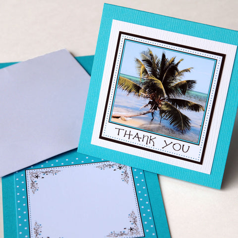 "3x3"" Square Thank You Card - Belize Beach"