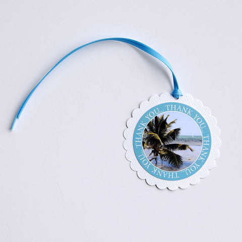 "2-1/2"" Round Scalloped Gift Tags - Belize Beach"
