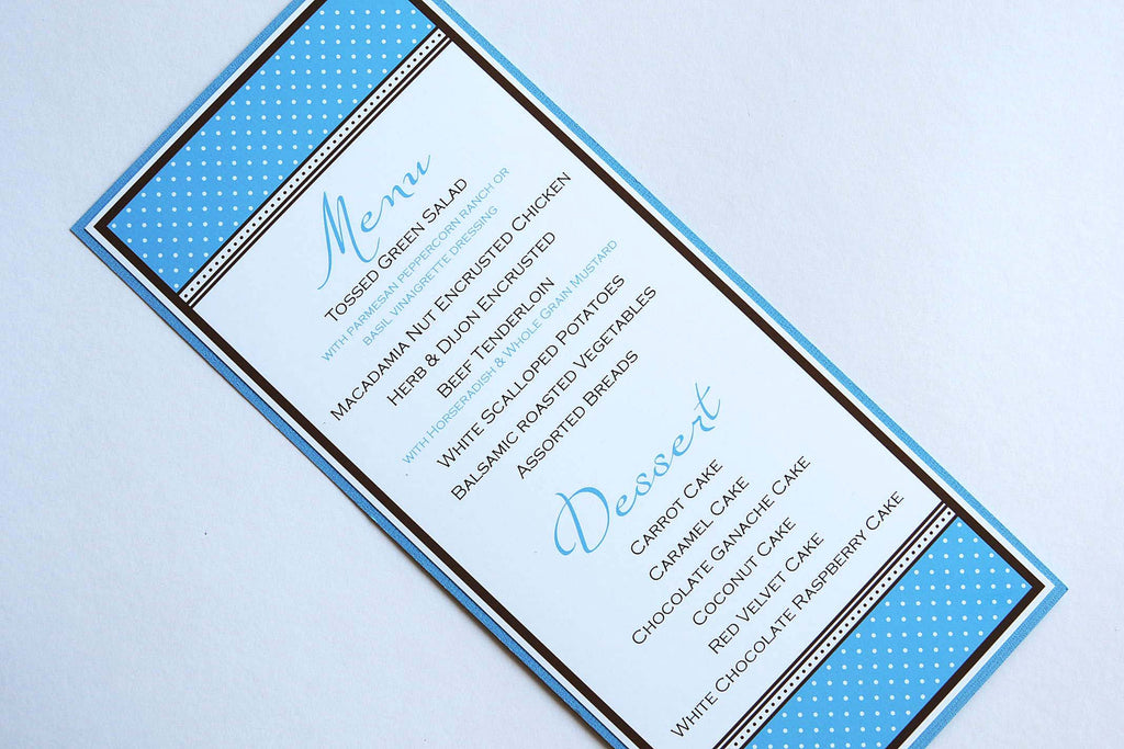 Modern Blue Polka Dot Menu - Wedding/Special Event/Occasion