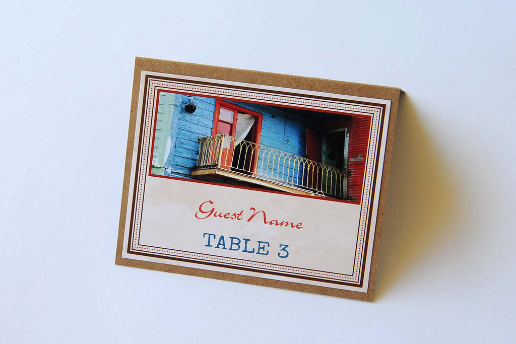 Rustic/Kraft/Vintage Wedding Stationery - Table Place Cards - La Boca, Buenos Aires, Argentina