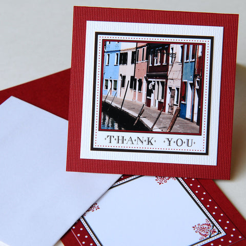 "3x3"" Square Thank You Card - Burano, Italy"
