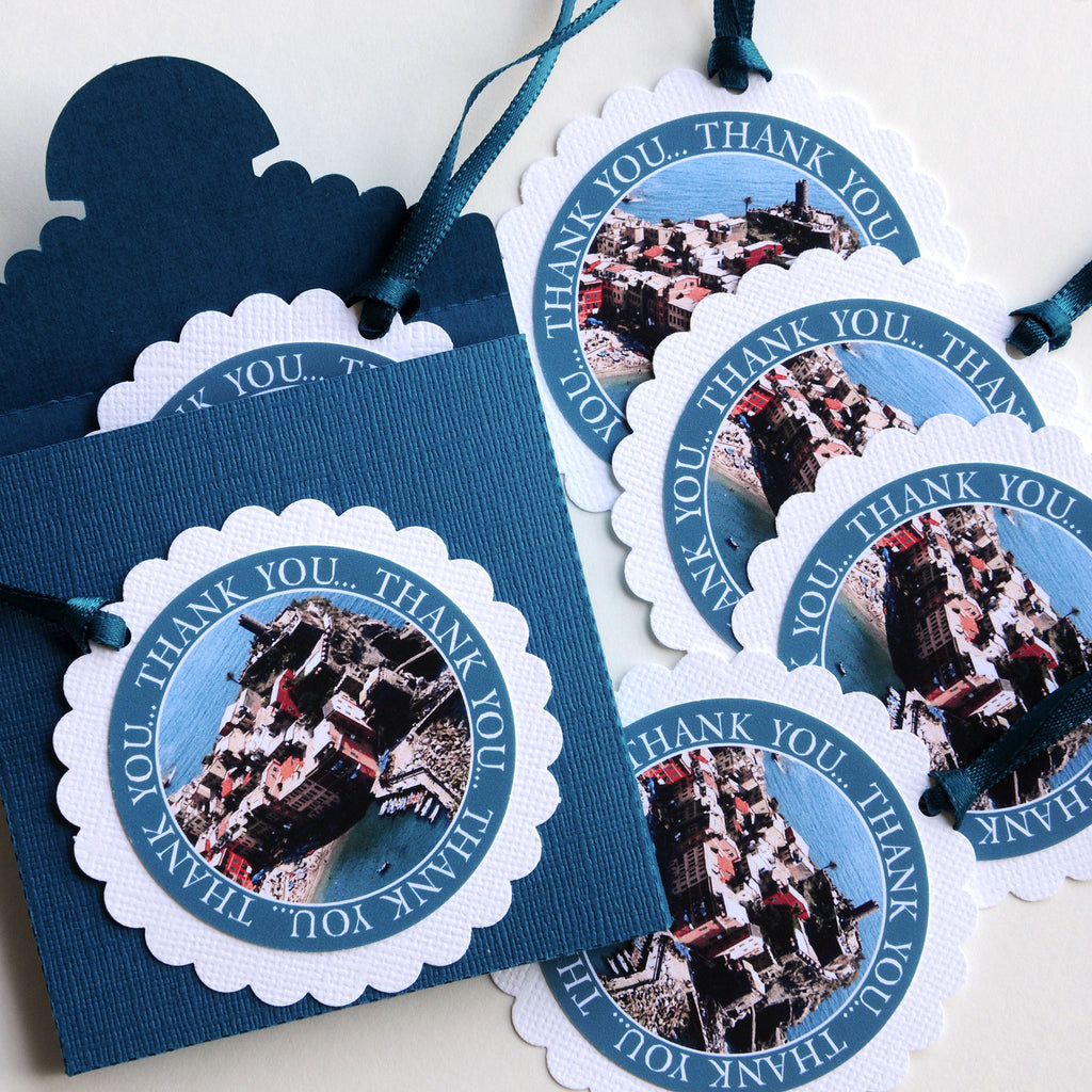 "2-1/2"" Round Scalloped Gift Tags with Box - Cinque Terre, Italy"