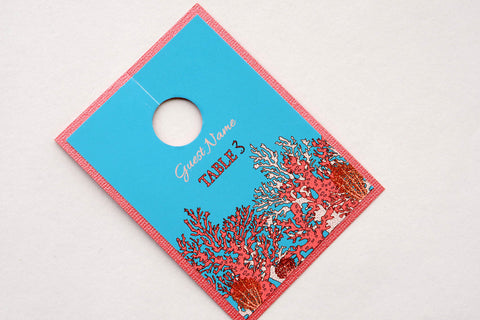 Coral Reef Tropical Beach Destination Wedding Glass Place Cards