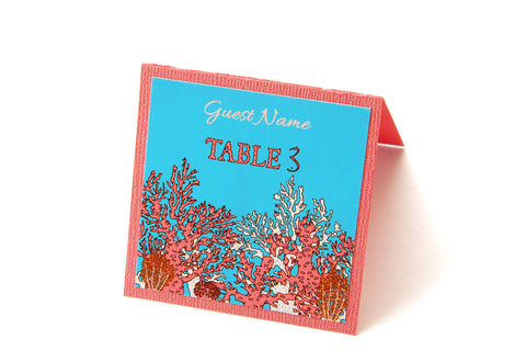 Coral Reef Tropical Beach Destination Wedding Place Cards