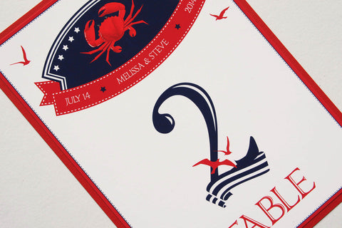 Crab Nautical Beach Destination Wedding Table Number