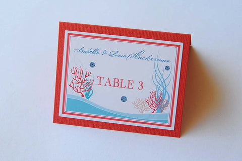 Destination Beach Coral Reef Wedding Stationery - Table Place Cards - Cuba Beach