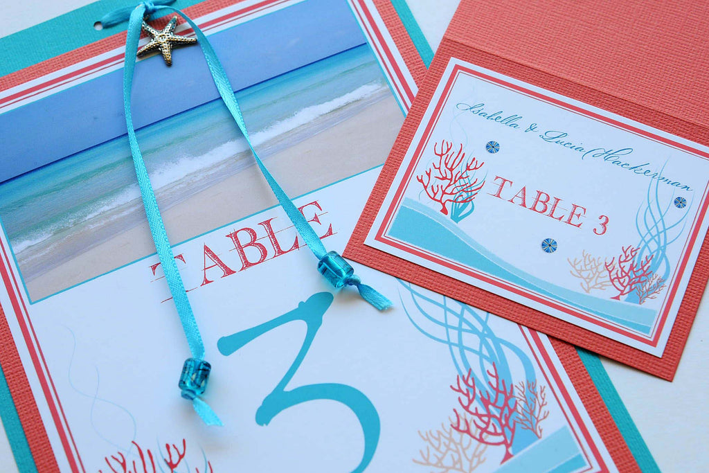 Destination Beach Coral Reef Wedding Stationery - Table Numbers - Cuba Beach