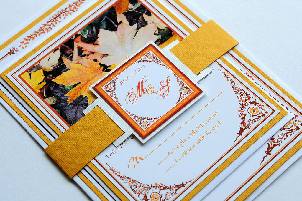 Fall Leaves Wedding Invitation and RSVP Suite