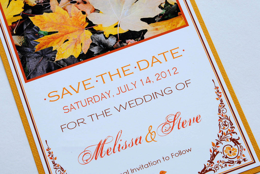 Fall Leaves Wedding Save the Date