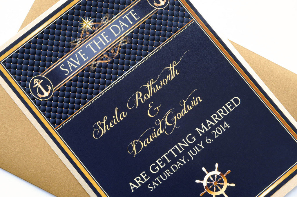 Black and Gold Nautical Beach Destination Wedding Save the Date