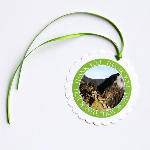 "2-1/2"" Round Scalloped Gift Tags - Machu Picchu, Peru"