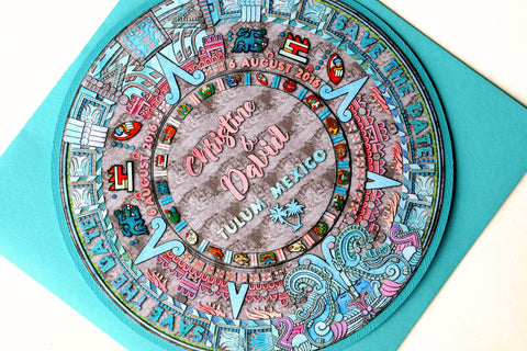 Mayan / Aztec Calendar Tropical Watercolor Beach Destination Wedding Save the Date