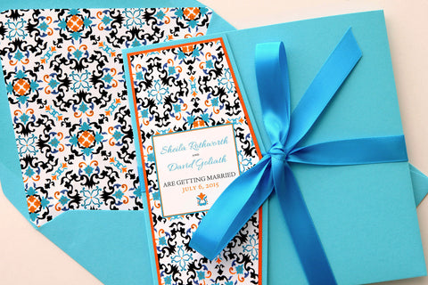 Mexican/Spanish Tile Beach Destination Wedding Invitation and RSVP Suite