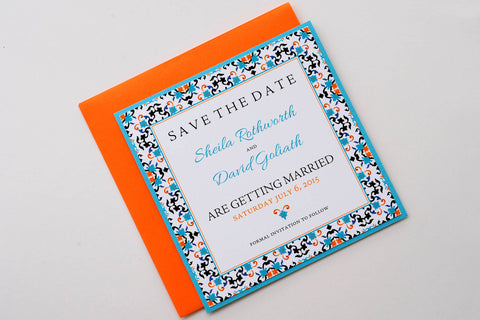 Mexican/Spanish Tile Beach Destination Wedding Save the Date