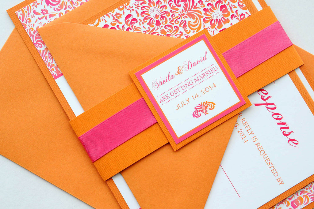 Pink and Orange Tropical Damask Beach Destination Wedding Invitation and RSVP Suite