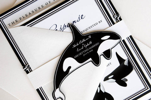 Orca (Killer) Whale Invitation and RSVP Destination Wedding Suite