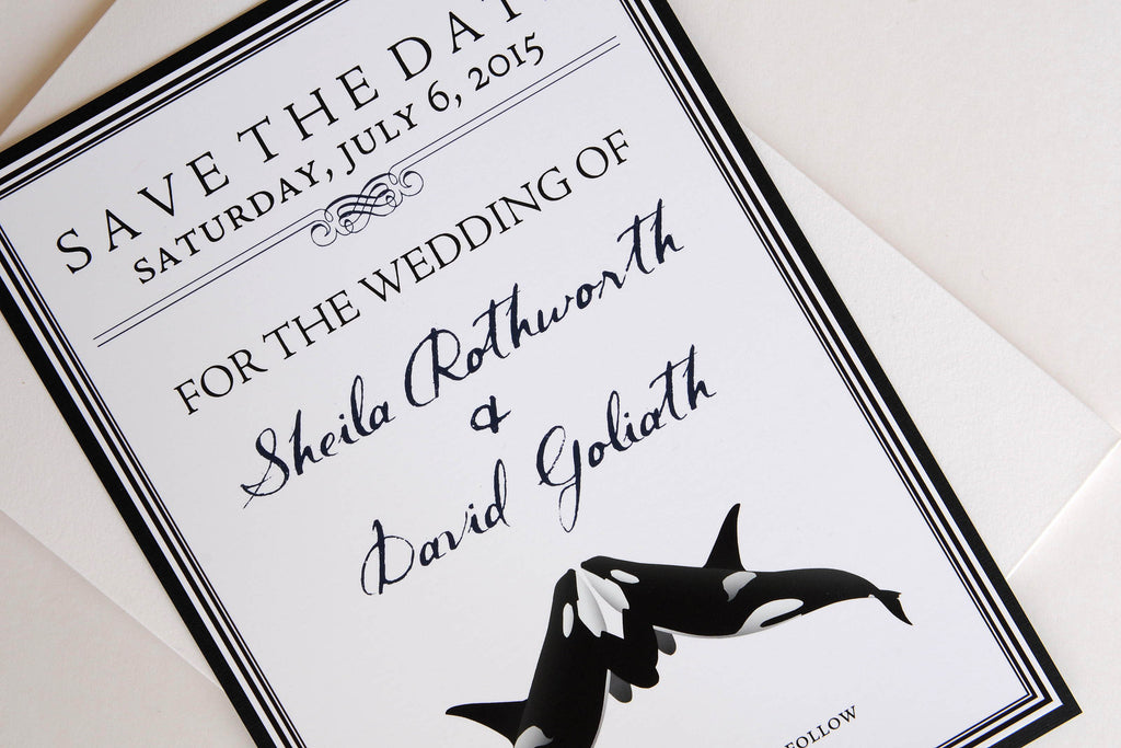 Orca (Killer) Whale Destination Wedding Save the Date