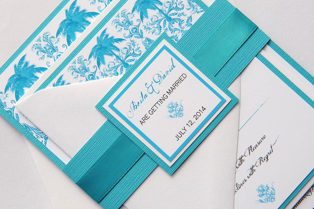 Turquoise Palm Tree Damask Beach Destination Wedding Invitation and RSVP Suite