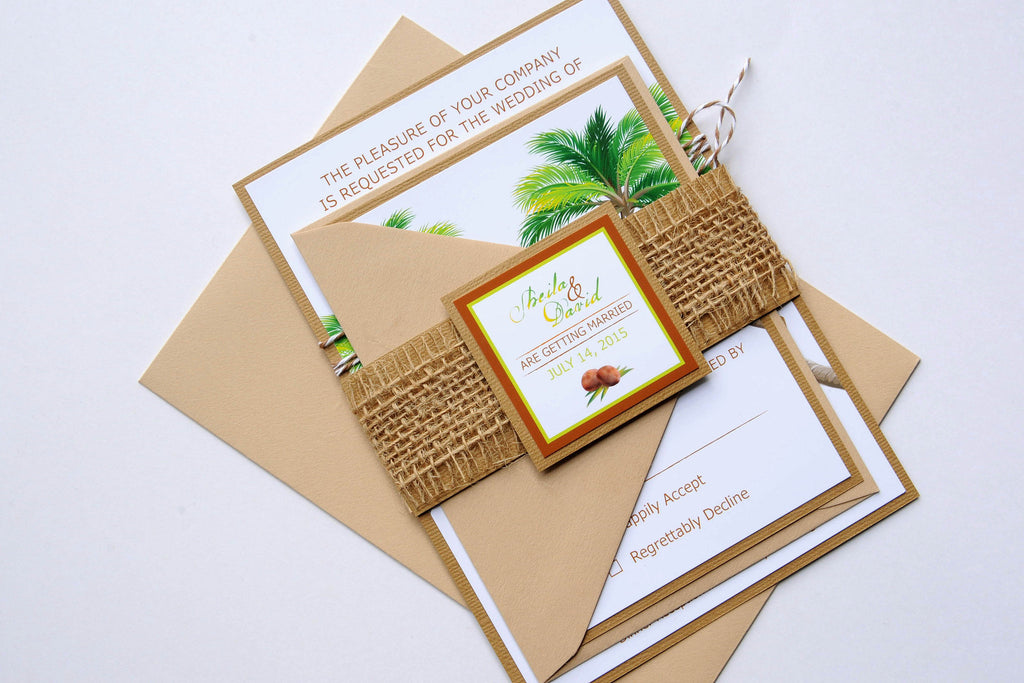 Natural Tropical Palm Tree Beach Destination Wedding Invitation ...
