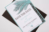 Sea Green Palm Tree Beach Destination Wedding Save the Date