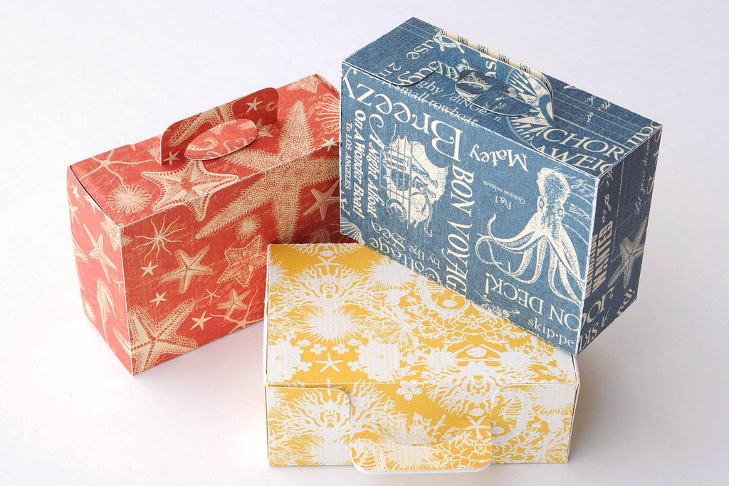 Set of 9 Mini Tropical Beach Suitcase Box / Luggage Box Destination Wedding / Beach Party Favor Boxes