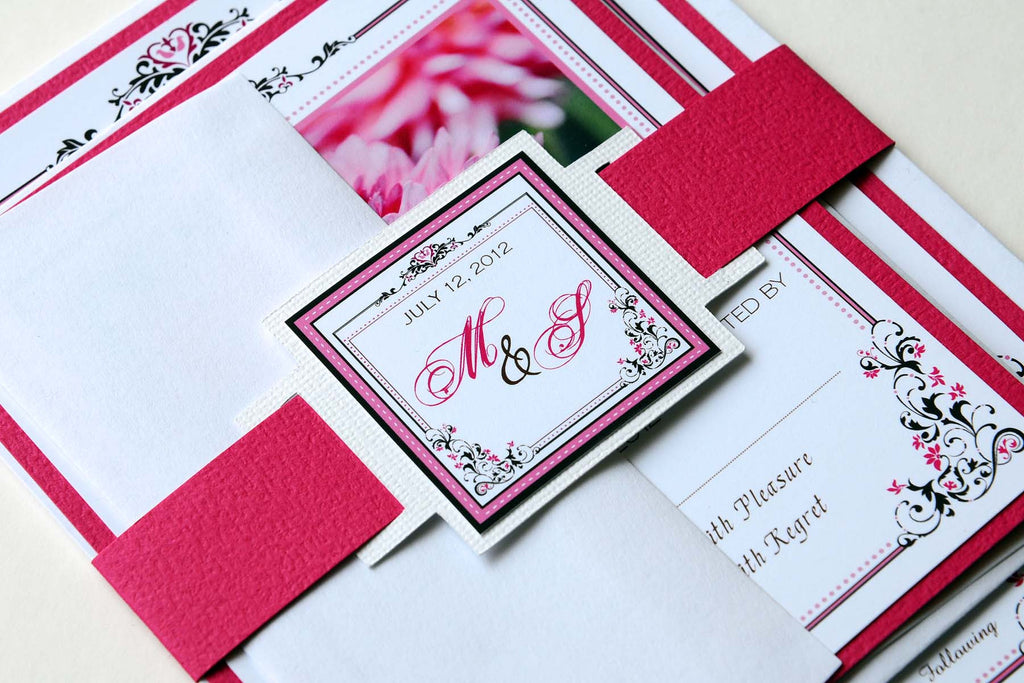 Pink Dahlia Wedding Invitation and RSVP Suite