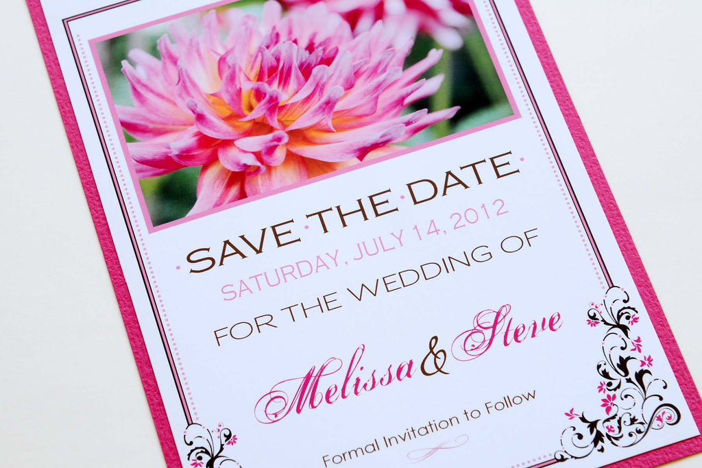 Pink Dahlia Wedding Stationery Save the Date