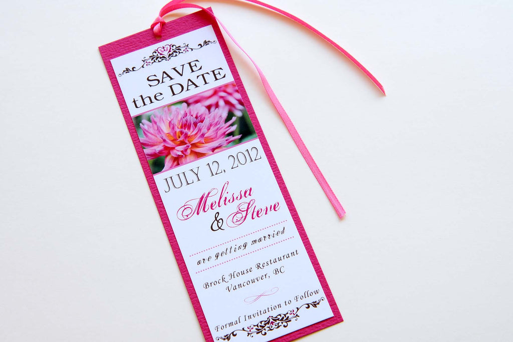 Pink Dahlia Wedding Save the Date Bookmark