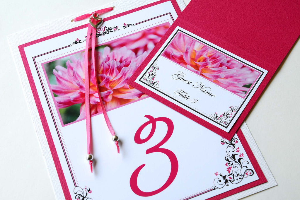Wedding Stationery - Table Numbers - Pink Dahlia
