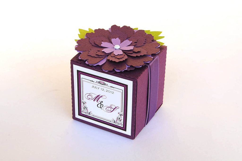 Set of 10 Purple Passion Flower Monogrammed Wedding Cube Box / Party Favor Box