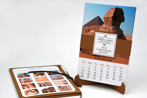 2018 Calendar with Folder and Stand - Egyptian Pyramids