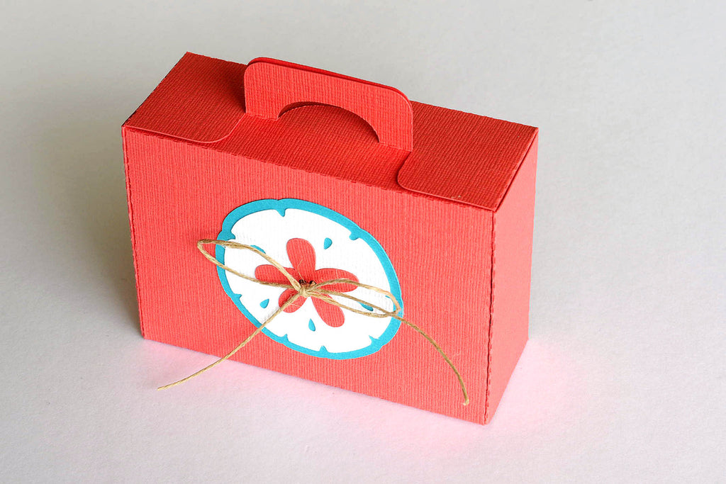 Set of 10 Mini Sand Dollar Beach Suitcase Box / Luggage Box Destination Wedding / Party Favor Boxes
