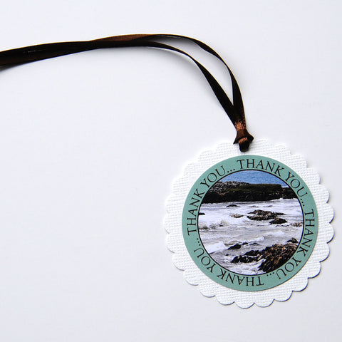 "2-1/2"" Round Scalloped Gift Tags - California Coast, USA"