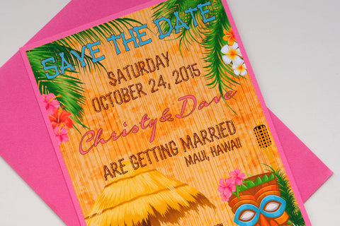 Tropical Tiki Hawaiian Beach Destination Wedding Save the Date