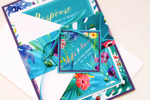 Tropical Flowers Hawaiian Beach Destination Wedding Invitation and RSVP Suite