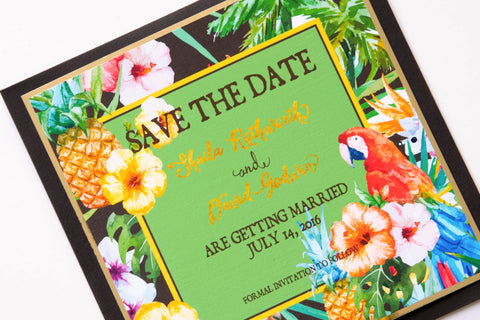 Tropical Jungle Pineapple Parrot Hibiscus Watercolor & Glitter Beach Destination Wedding Save the Date