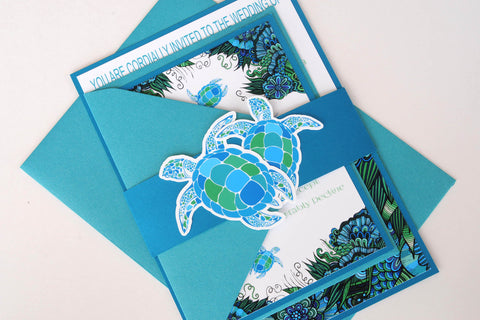 Colourful Sea Turtle Beach Destination Wedding Invitation and RSVP Suite