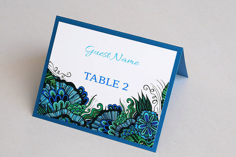 Colourful Sea Coral Beach Destination Wedding Place Cards