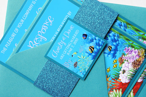 Colourful Underwater Aquarium Beach Destination Wedding Invitation and RSVP Suite