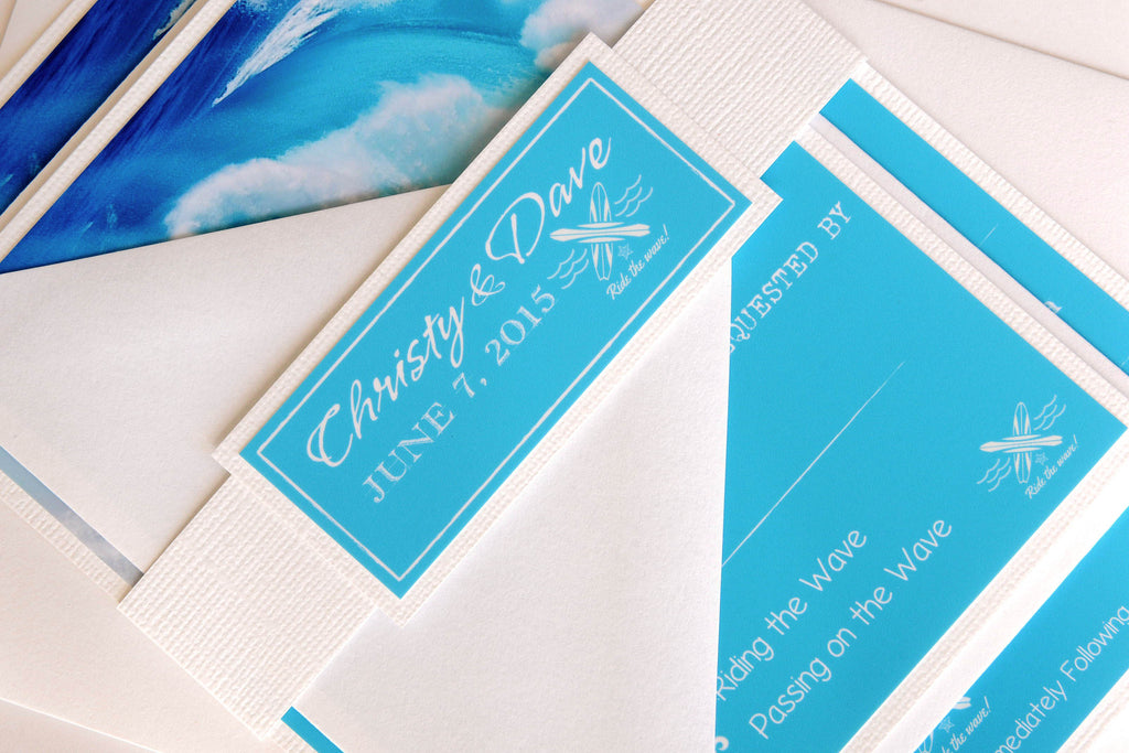 Surf Wave Turquoise and White Invitation and RSVP Beach Destination Wedding Suite