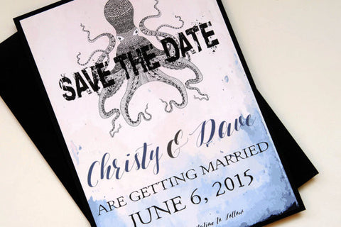 Watercolor Octopus Hawaiian Beach Destination Wedding Save the Date
