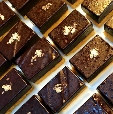 Chocolate caramel ganache bars with fleur de sel