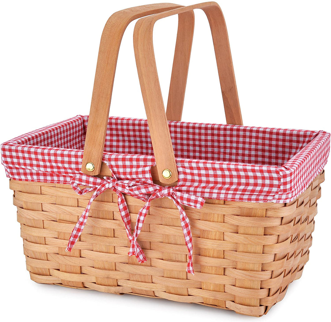Small Cloth Lined Picnic Basket